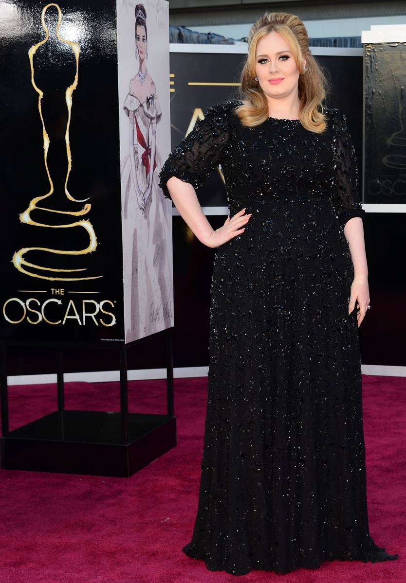 Adele wearing a Jenny Packham dress Oscars Academy Awards 2013