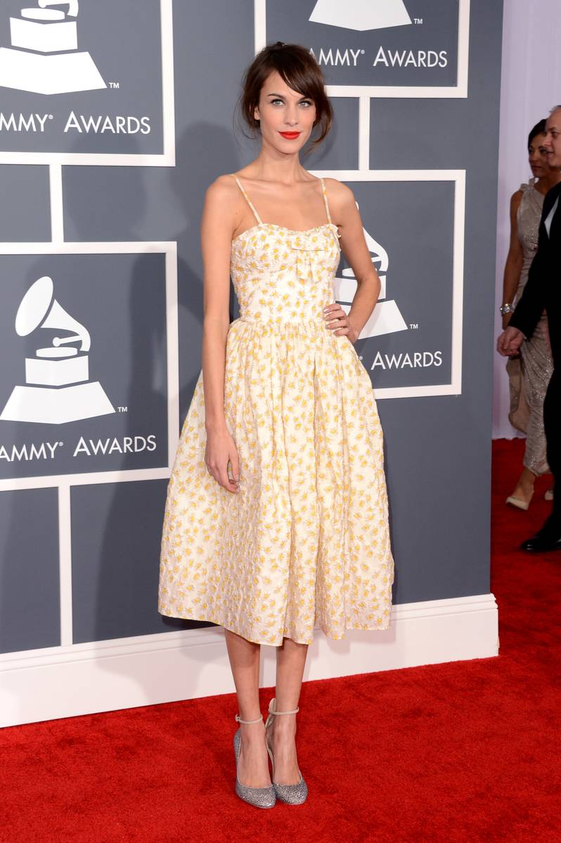 Model Alexa Chung arrives at the 55th Annual GRAMMY Awards