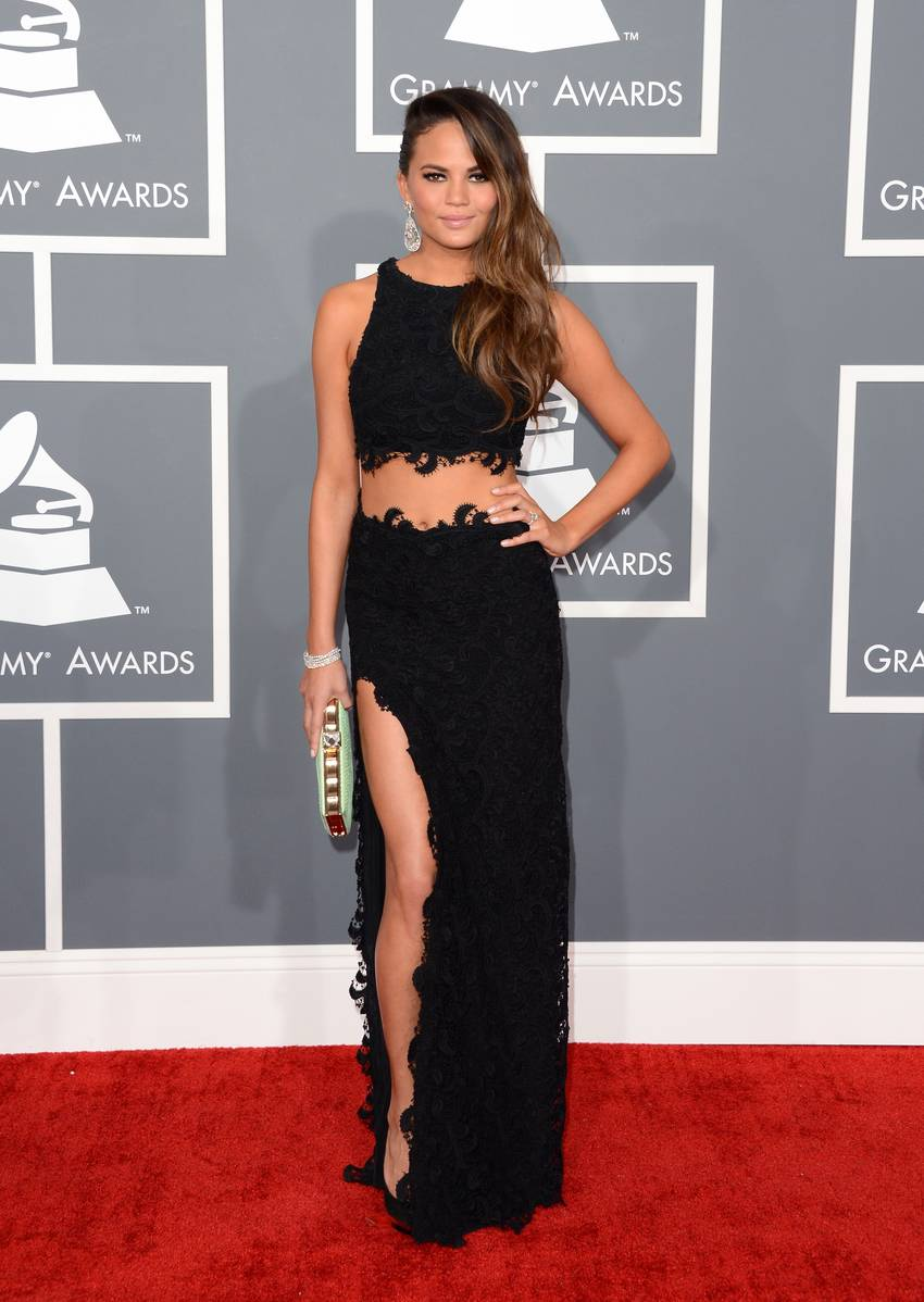 Model Christine Teigen arrives at the 55th Annual GRAMMY Awards