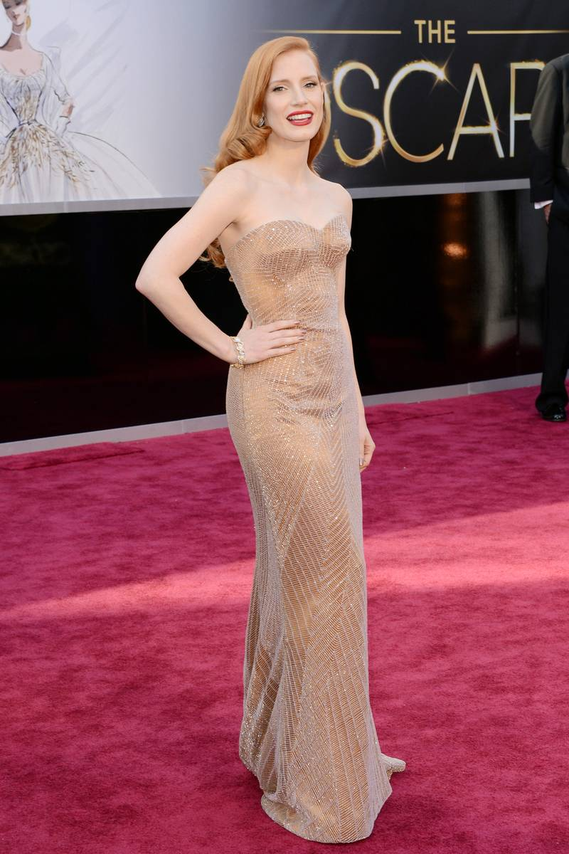 Jessica Chastain wearing Giorgio Armani and Harry Winston jewelry #Oscars Academy Awards 2013