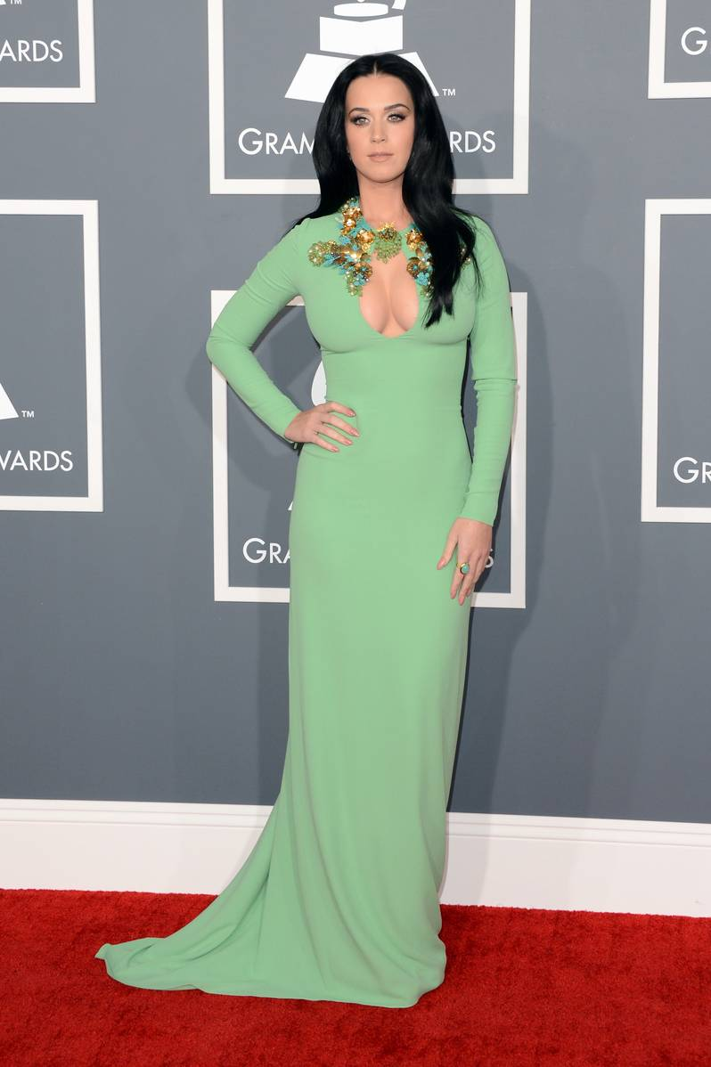 Singer Katy Perry arrives at the 55th Annual GRAMMY Awards