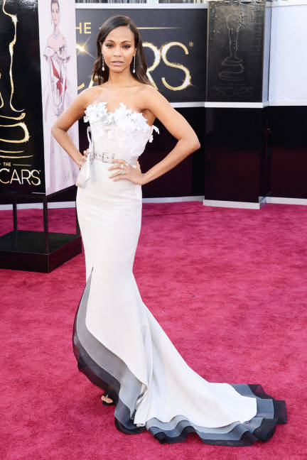 Zoe Saldana wearing Alexis Mabille and Neil Lane jewelry Oscars 2013