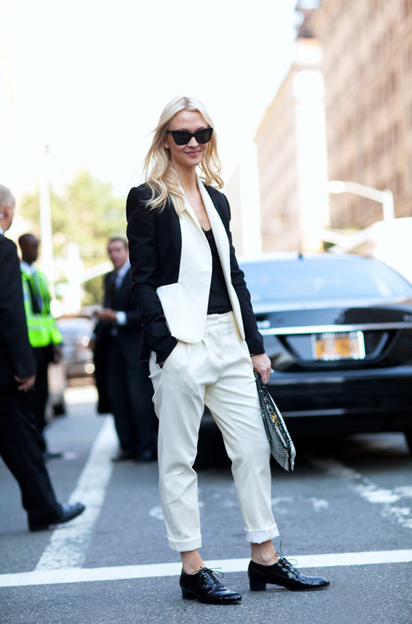 suits black and white, spring trends, fashion week 2013