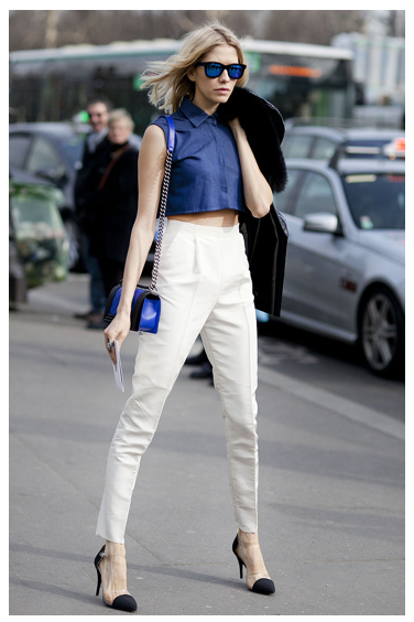 crop tops and high waist pants spring trends fashion week street style 2013