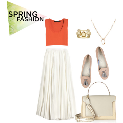 What to wear for spring - crop shirts, midi skirts, pastel and red colors