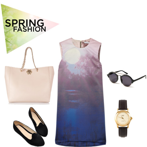 What to wear for spring - outfits round shades sunglasses, blue colors