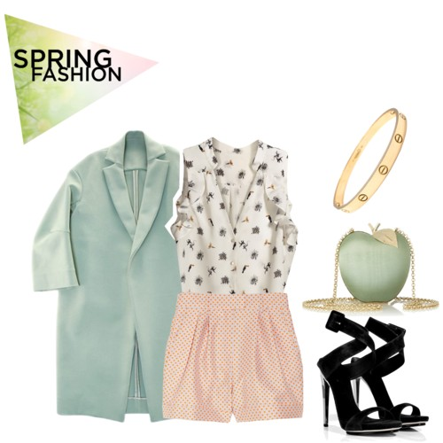 spring outfits with prints, trench coats, one of a kind purses, strapy shoes, pumps
