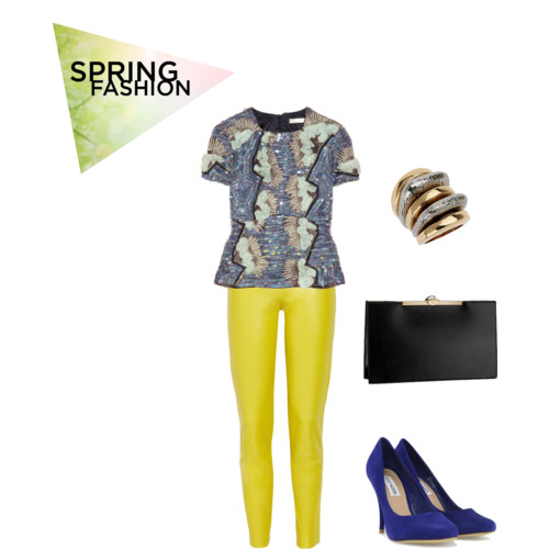 What to wear for spring: Dinner outfits with embelishment blouses, gold and metallic jewelry, bright leather pants