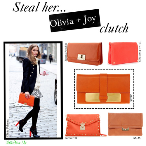 Olivia Palermo Olivia and Joy clutch fashonista wears
