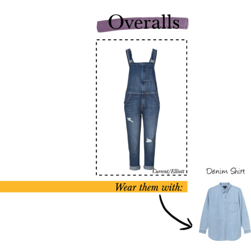overalls denim shirt