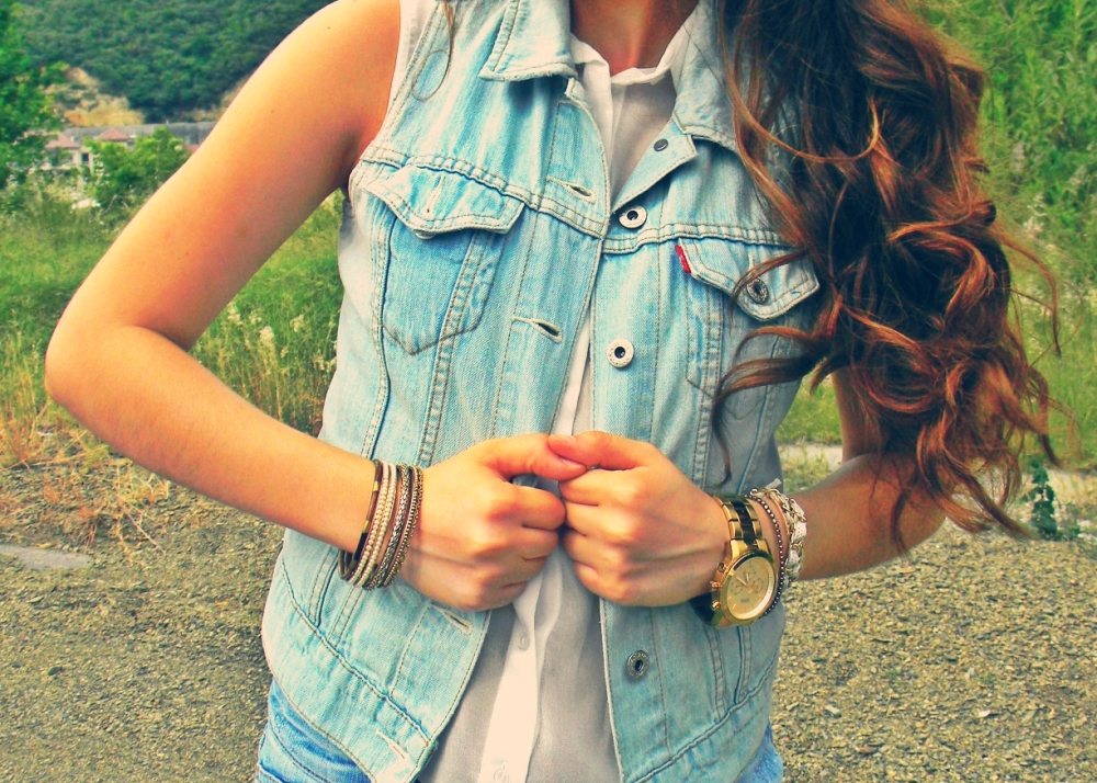 accessories denim vest short shorts fashion