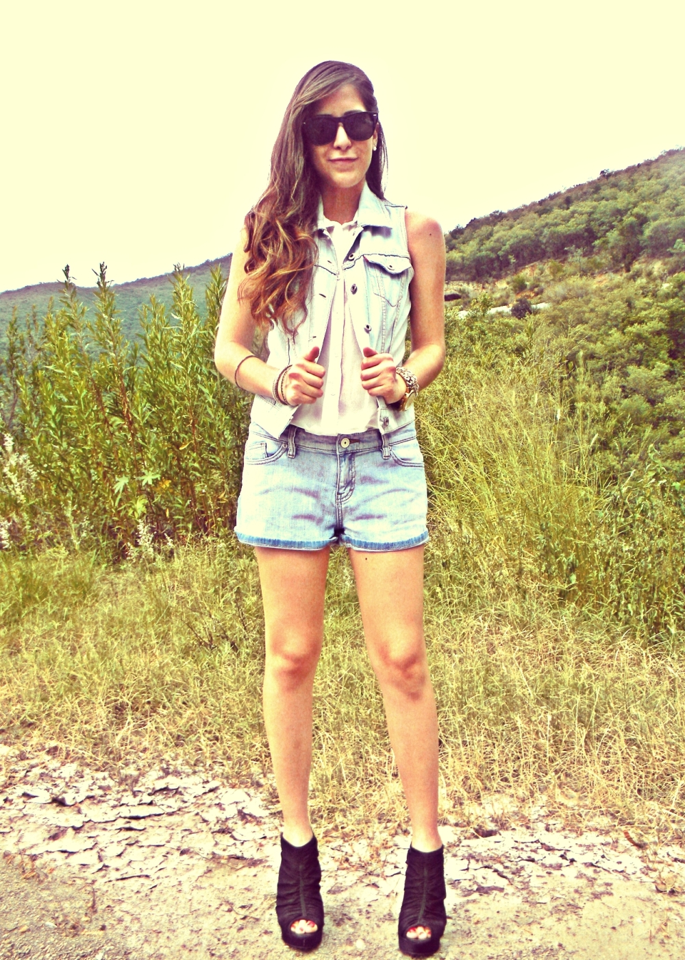 denim on denim white shirt shorts vest sunnies summer