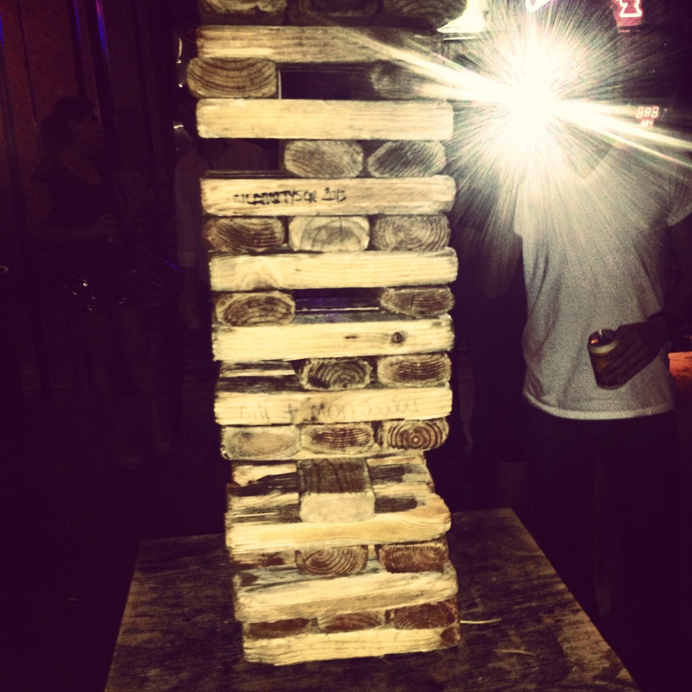 big jenga playing night out