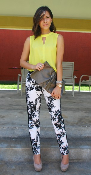 neon pants and printed panas