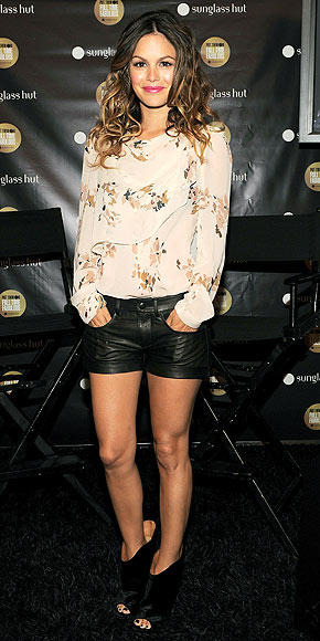 Leather shorts, open toe boots floral blouse rachel bilson style
