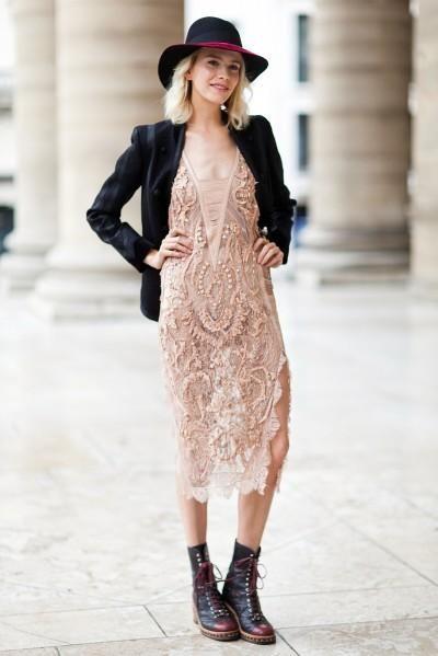 Elena Perminova pink dress street style