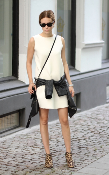 outfit street style white dress fashion fall winter