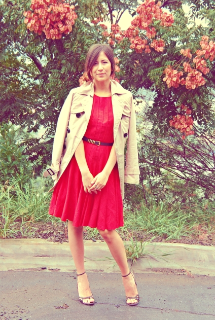 red dress strapy shows trench coat audrey
