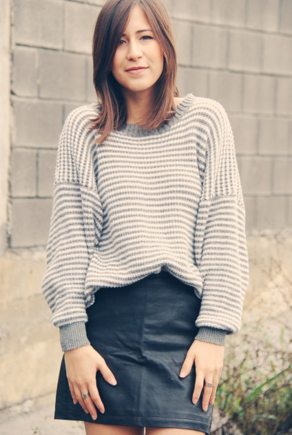 leather skirt stripes sweater