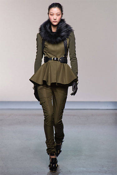 Green military cut Fall 2013 Prabal Gurung