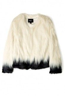 unreal fur faux fur coat black and white