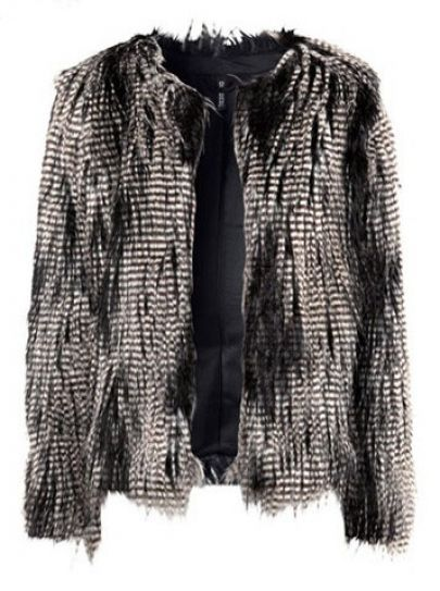 Peacock Feathers Long Sleeve Button Fut Coat