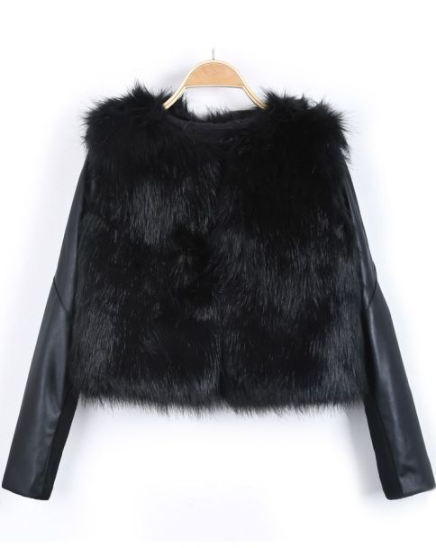 Black Contrast PU Leather Faux Fur Coat