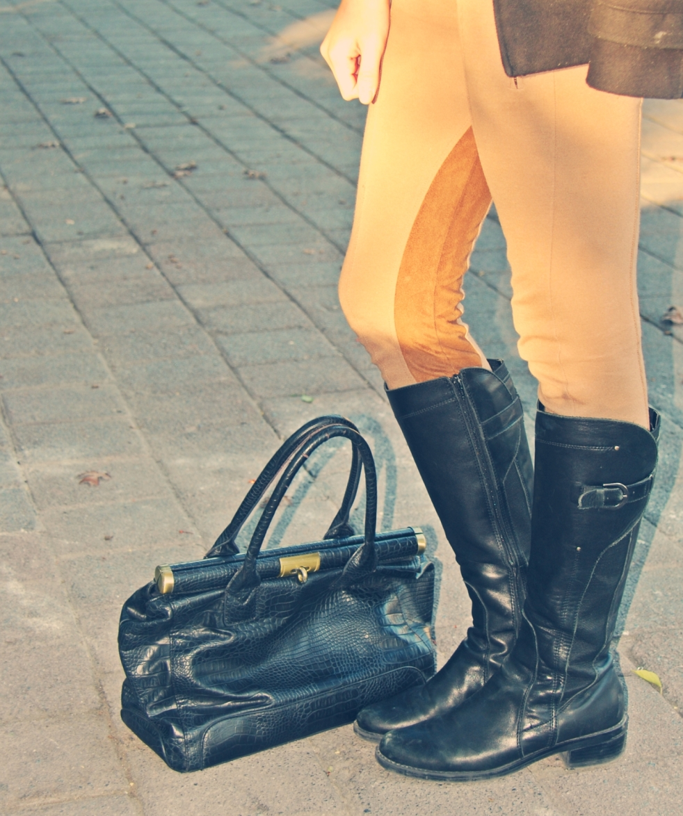 details fashion purse riding boots and pants