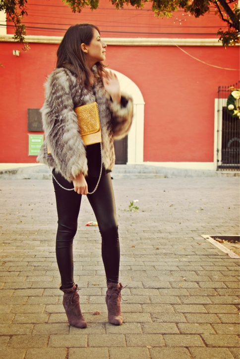 leather leggings, boots, mink coat fashion