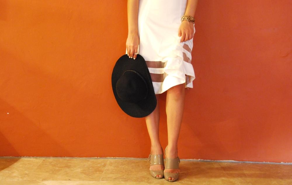 white midi-skirt a-line